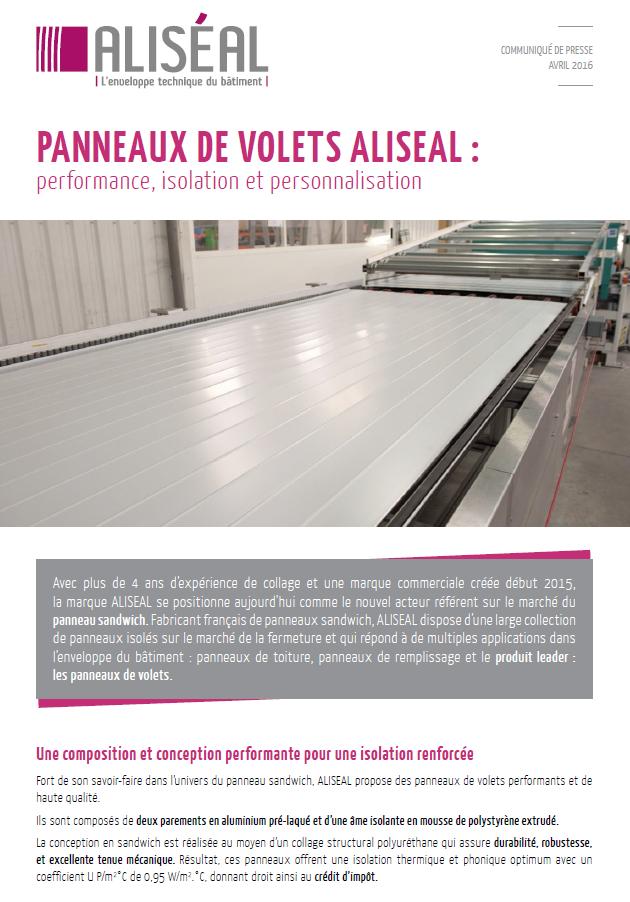 [FLASHMAIL] PANNEAUX DE VOLETS ALISEAL : performance, isolation et personnalisation